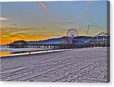 Santa Monica Pier At Dusk Canvas Print by Joe  Burns