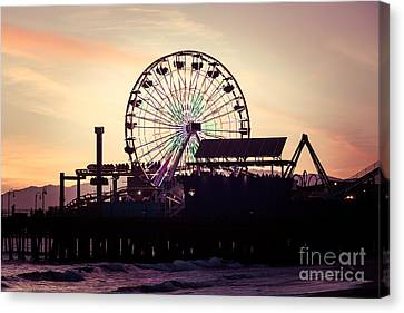 Santa Monica Pier Ferris Wheel Retro Photo Canvas Print by Paul Velgos