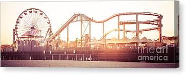 Santa Monica Pier Roller Coaster Panorama Photo Canvas Print by Paul Velgos