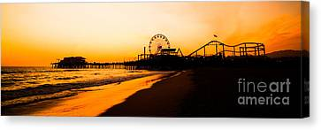 Santa Monica Pier Sunset Panorama Picture Canvas Print by Paul Velgos