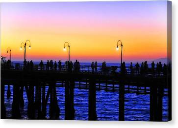 Santa Monica Pier Sunset Silhouettes Canvas Print by Lynn Bauer