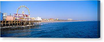Santa Monica Pier With Ferris Wheel Canvas Print by Panoramic Images