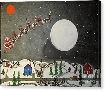 Santa Over The Moon Canvas Print by Jeffrey Koss