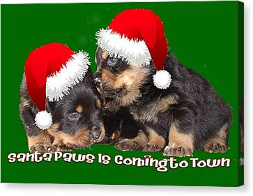 Santa Paws Is Coming To Town Christmas Greeting Canvas Print by Tracey Harrington-Simpson