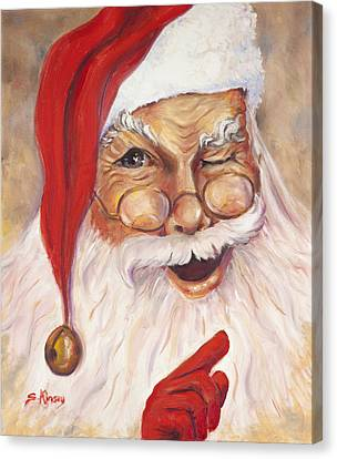 Santa Winking I Canvas Print by Sheila Kinsey