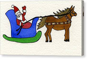 Santa's Blue Sleigh Canvas Print by Norma Appleton