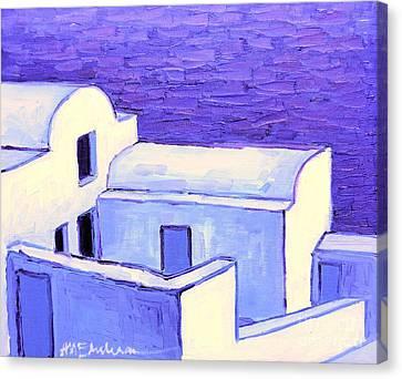 Santorini Houses Canvas Print by Ana Maria Edulescu