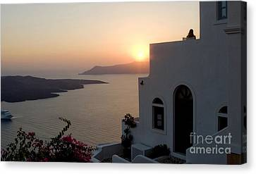 Santorini Sunset 24x14 Canvas Print by Leslie Leda