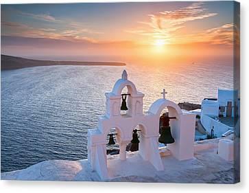 Santorini Sunset Canvas Print by Evgeni Dinev
