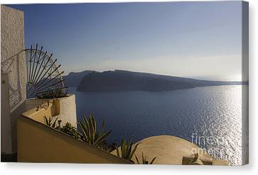 Santorini View 24x14 Canvas Print by Leslie Leda