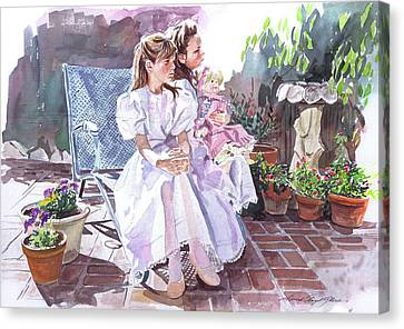 Sara And Erin Foster - Waiting For Lunch Canvas Print by David Lloyd Glover