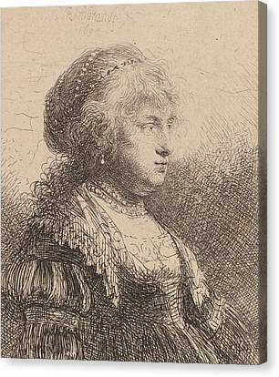 Saskia With Pearls In Her Hair Canvas Print by Rembrandt