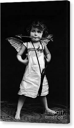 Sassy Cupid Bw Canvas Print by Lesa Fine