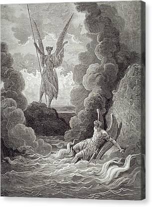 Satan And Beelzebub Canvas Print by Gustave Dore