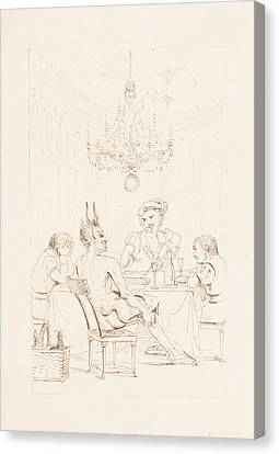 Satan And Three Men At A Table Canvas Print by Auguste Hervieu