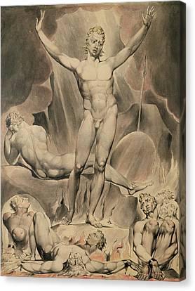Satan Arousing The Rebel Angels, 1808 Canvas Print by William Blake