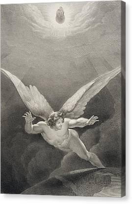 Satan Leaps Over The Walls Of Heaven Canvas Print by Richard Edmond Flatters