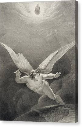 Satan Leaps Over The Walls Of Heaven Canvas Print by Richard Edmond Flatters