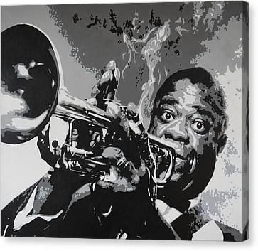 Tribute To Satchmo Canvas Print by Bitten Kari