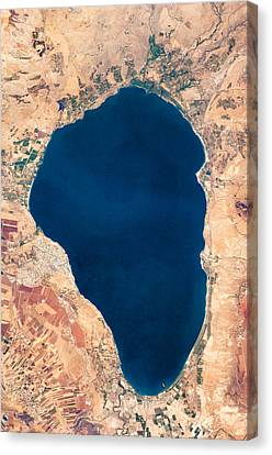 Satellite View Of Lake Tiberias - Sea Of Galilee Israel Canvas Print by World Art Prints And Designs