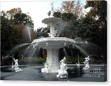 Savannah Georgia Forsythe Fountain - Forsythe Fountain Square Dreamy Landscape  Canvas Print by Kathy Fornal