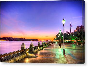 Savannah Riverwalk At Sunrise Canvas Print by Anthony Doudt