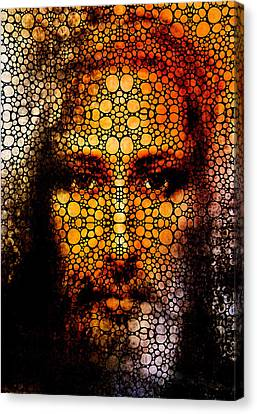 Savior - Stone Rock'd Jesus Art By Sharon Cummings Canvas Print by Sharon Cummings