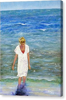 Savoring The Sea Canvas Print by Margaret Bobb