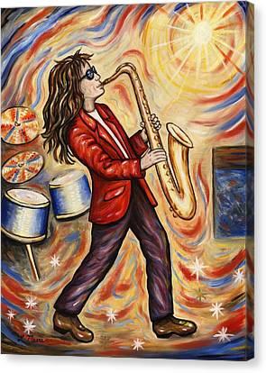 Sax Man Canvas Print by Linda Mears