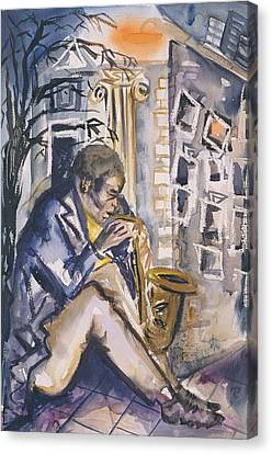 Sax Player, 1998 Wc On Paper Canvas Print by Hilary Rosen