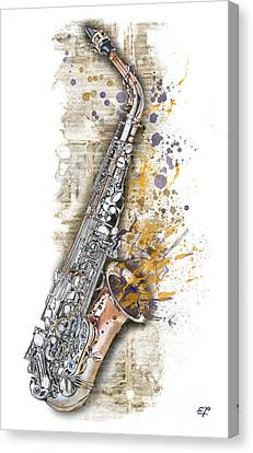 Saxophone 02 - Elena Yakubovich Canvas Print by Elena Yakubovich