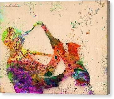 Cartoon Canvas Print featuring the painting Saxophone  by Mark Ashkenazi