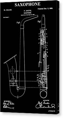 Saxophone Patent Black And White Canvas Print by Dan Sproul