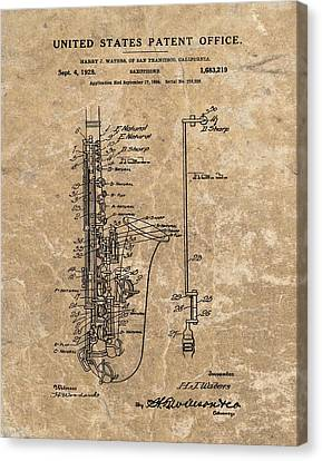 Saxophone Patent Design Illustration Canvas Print by Dan Sproul
