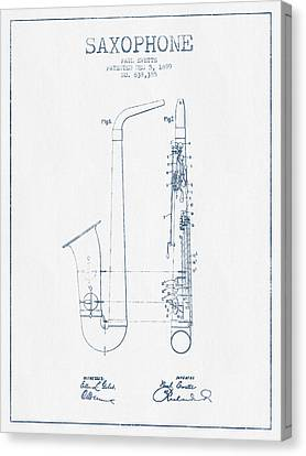 Saxophone Patent Drawing From 1899 - Blue Ink Canvas Print by Aged Pixel