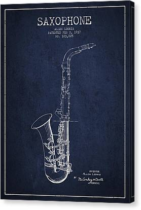 Saxophone Patent Drawing From 1937 - Blue Canvas Print by Aged Pixel