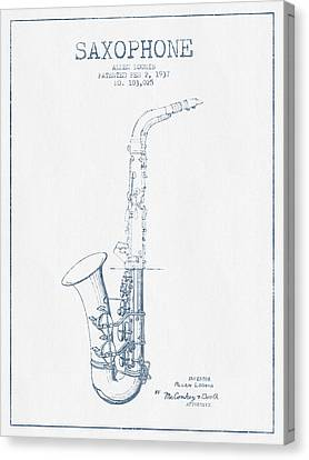 Saxophone Patent Drawing From 1937 - Blue Ink Canvas Print by Aged Pixel