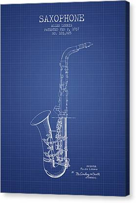 Saxophone Patent From 1937 - Blueprint Canvas Print by Aged Pixel