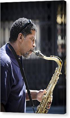 Saxophone Player Canvas Print by Carolyn Marshall