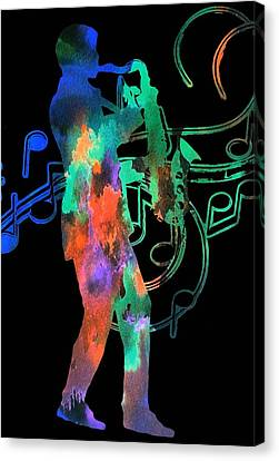 Saxophone Player Canvas Print by Dan Sproul