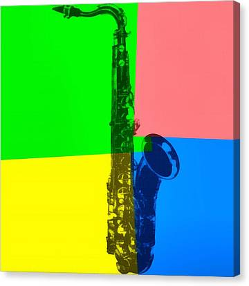 Saxophone Pop Art Canvas Print by Dan Sproul