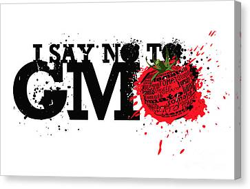 Say No To Gmo Graffiti Print With Tomato And Typography Canvas Print by Sassan Filsoof