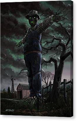 Scary Scarecrow In Field Canvas Print by Martin Davey