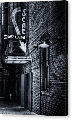 Scat Lounge In Cool Black And White Canvas Print by Joan Carroll