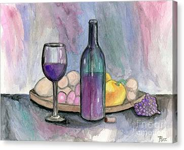 Scene From An Italian Restaurant Canvas Print by Roz Abellera Art