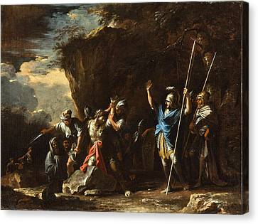 Scene From Greek History. The Deaf-mute Son Of King Croesus Prevents The Persians From Killing His F Canvas Print by Salvator Rosa