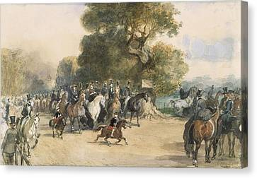Scene In Hyde Park Canvas Print by Eugene-Louis Lami