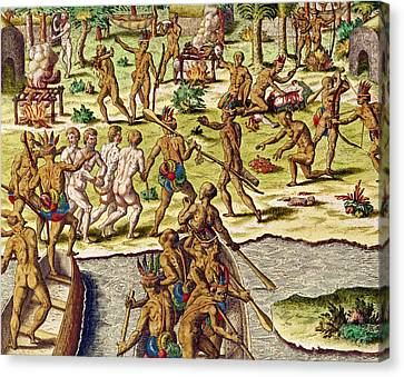 Scene Of Cannibalism Canvas Print by Theodore de Bry
