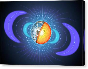 Schematic Of Van Allen Radiation Belts Canvas Print by Mark Garlick