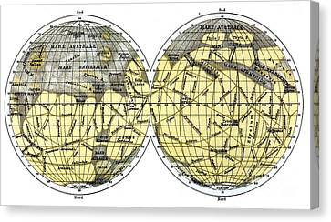 Schiaparelli Map, Canali Of Mars, 1898 Canvas Print by Science Source